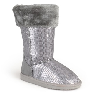 Journee Kid's 'Spark' Sequined Faux Fur Boots