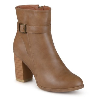 Journee Collection Women's 'Box' Heeled Topstitch Boots