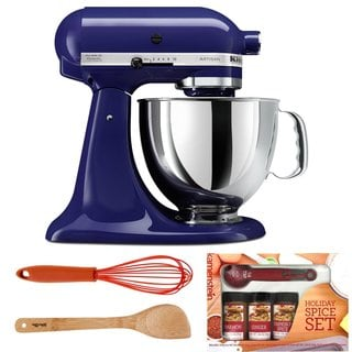 Kitchenaid KSM150 Cobalt Blue Artisan Tilt Head Stand Mixer 5-Quart Bundle