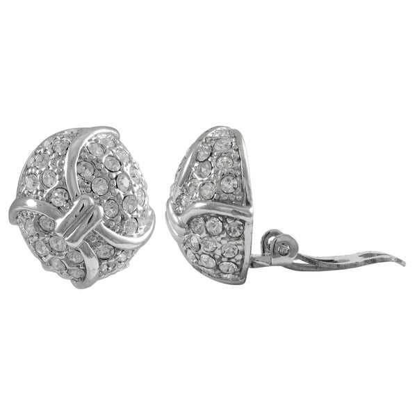 Rhodium Finish Pave Crystals Curved Oval Clip-on Earrings