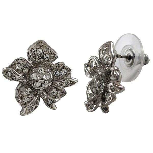 Rhodium Finish Pave Crystals Flower Stud Earrings