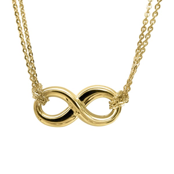 14k Yellow Gold Floating Infinity Symbol Double Chain Necklace