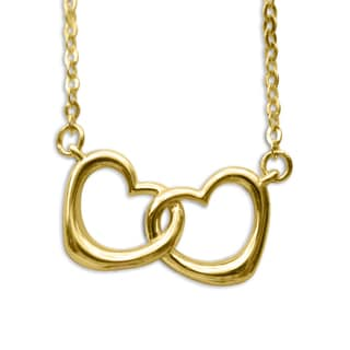 14k Yellow Gold Small Linked Hearts Floating Necklace