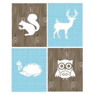 Rocket Bug Woodland Animals Nursery Wall Art Set