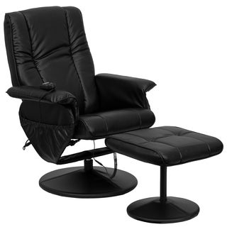 Massaging Black Leather Recliner/ Ottoman with Wrapped Base