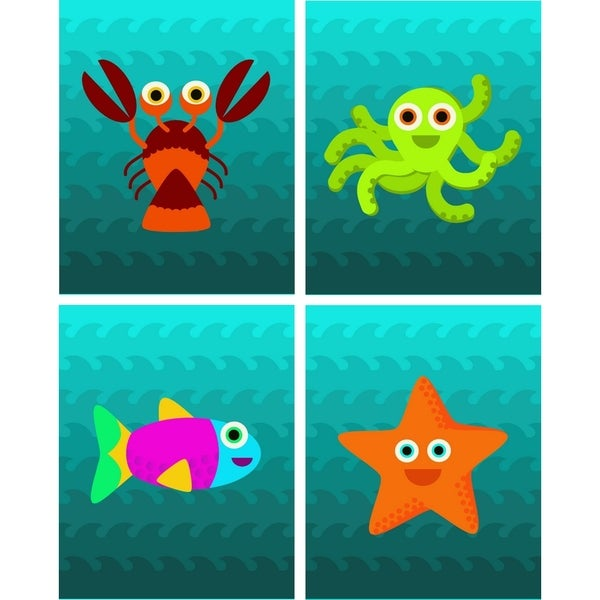 Rocket Bug Ocean Creatures Nursery Wall Art Set