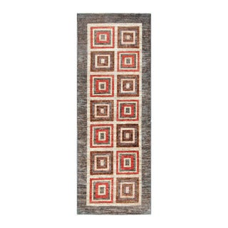 Herat Oriental Afghan Hand-Knotted Tribal Vegetable Dye Gabbeh Ivory/ Gray Wool Rug (2'8 x 7'7)