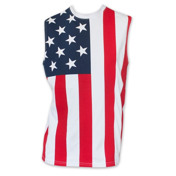 Men's Cotton American Flag Stars And Stripes Muscle Tank Top