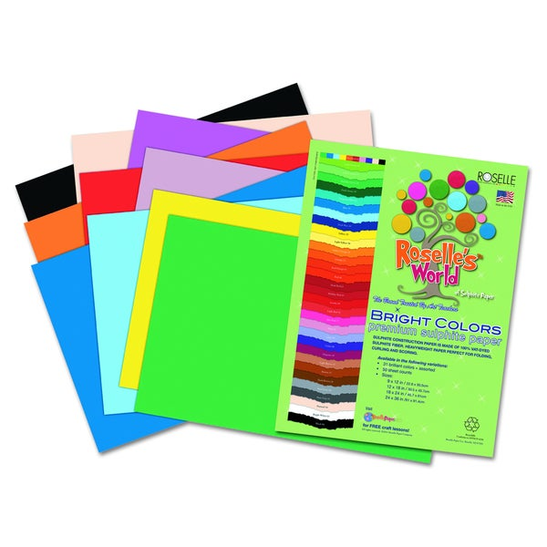 Roselle 24 x 36 Premium Sulphite 76 lbs. Construction Paper (Pack of 50 Sheets)