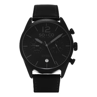 SO&CO New York Men's Monticello Quartz Black Leather Strap Watch