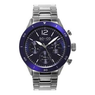 SO&CO New York Men's Yacht Club Blue Bezel Quartz Stainless Steel Watch