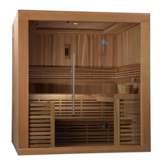 Oslo 4-6 Person Natural Canadian Red Cedar Luxury Edition Traditional Steam Sauna