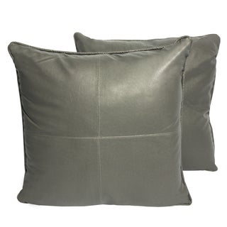 Grey Four-panel Faux Leather 16-inch Accent Pillow (Set of 2)