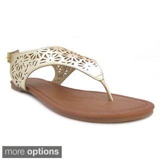 Olivia Miller 'Azalea' Hooded Metallic Laser Cut Sandals