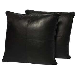 Black Four-panel Faux Leather 16-inch Accent Pillow (Set of 2)