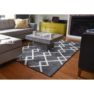 Shale Grey and Ivory Bamboo Viscose Rug (9' x 12')