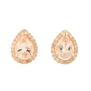 Rose Gold over Silver Morganite and 1/6ct TDW Diamond Stud Earrings