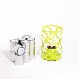 Mediterranean 15X10 Outdoor Steel Lantern in Sweet Lime with SunJel Fuel 12 pack by TF Essentials model SJ-MD-01-02-SWL-SJ12