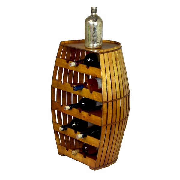 Wood Barrel Shaped 17-bottle Wine Rack