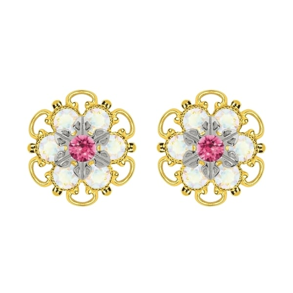 Lucia Costin Yellow Gold Plated, Sterling Silver, Pink, White Swarovski Crystal, Stud Earrings