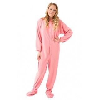 Women's Pink Fleece Drop Seat Footed Pajamas