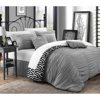 Chic Home Lester Silver Pleated Ruffled 7-piece Comforter Set