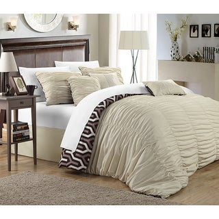 Chic Home Lester Beige Pleated Ruffled 7-piece Comforter Set