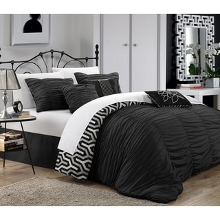 Chic Home Lester Black Pleated Ruffled 7-piece Comforter Set