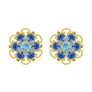Lucia Costin Yellow Gold Plated, Sterling Silver, Light Blue, Blue Swarovski Crystal, Stud Earrings