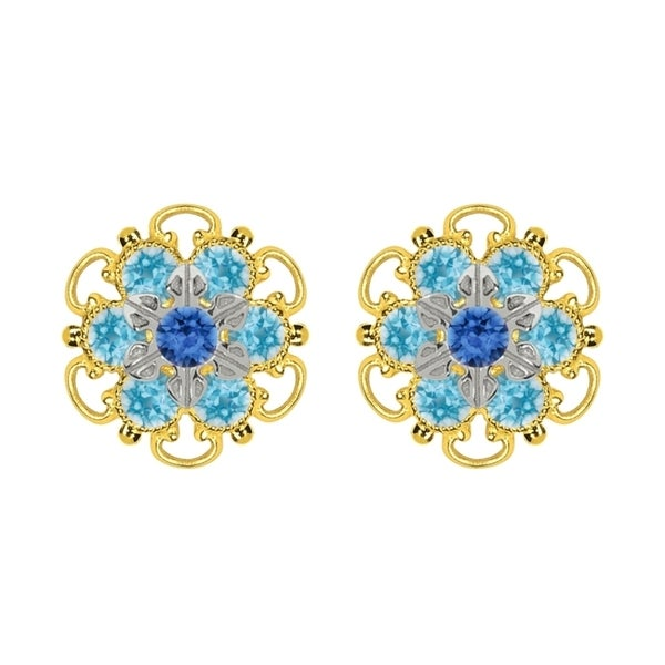 Lucia Costin Yellow Gold Plated, Sterling Silver, Blue, Light Blue Swarovski Crystal, Stud Earrings