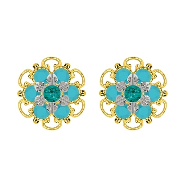 Lucia Costin Yellow Gold Plated, Sterling Silver, Green, Turquoise Swarovski Crystal, Stud Earrings