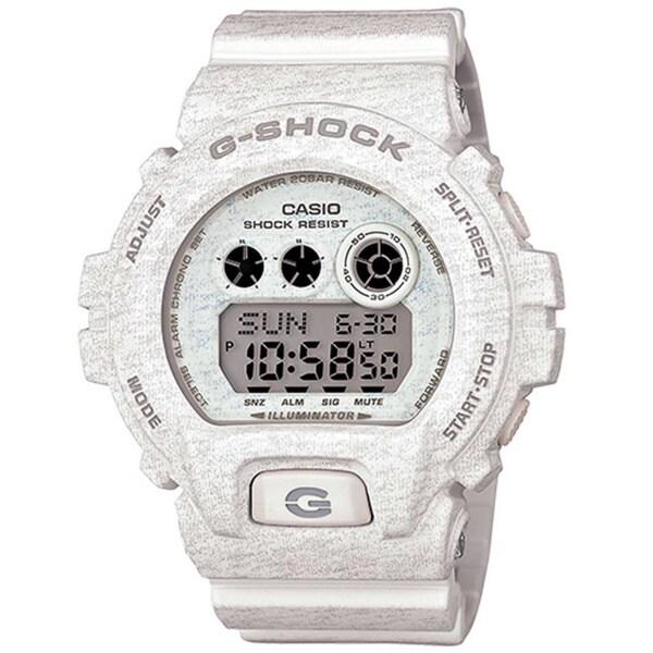 Casio G-Shock Men's Heathered Digital Multi-Function Chronograph White Resin Watch GDX-6900HT-7