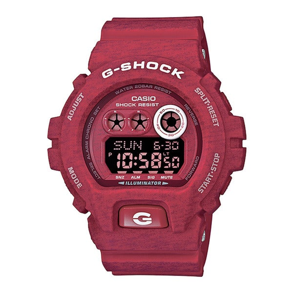 Casio G-Shock Men's Heathered Digital Multi-Function Chronograph Red Resin Watch GDX-6900HT-4