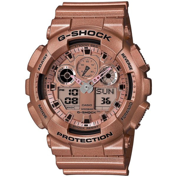 Casio G-Shock Men's Multi-Function Chronograph Rose-Tone Gold Resin Watch GA-100GD-9A