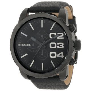 Diesel Men's Chronograph Black Dial Black Leather Watch DZ4216