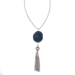 Natural Stone with Tassle 15-inch Necklace