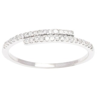 10k White Gold 1/4ct TDW Pave Diamond Bypass Band (G-H, I1-I2)