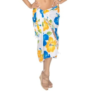 Women's Likre Yellow Hibiscus Floral Printed Swim Sarong