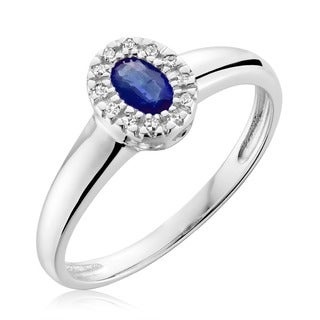 10k White Gold Oval Blue Sapphire Diamond Accent Ring (Size 6.5)