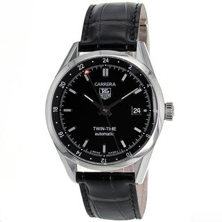 Tag Heuer Men's WV2115.FC6180 Carrera Twin Time Round Black Leather Strap Watch