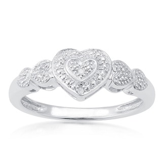 Sterling Silver Diamond Accents Heart Ring (H-I, I2-I3)