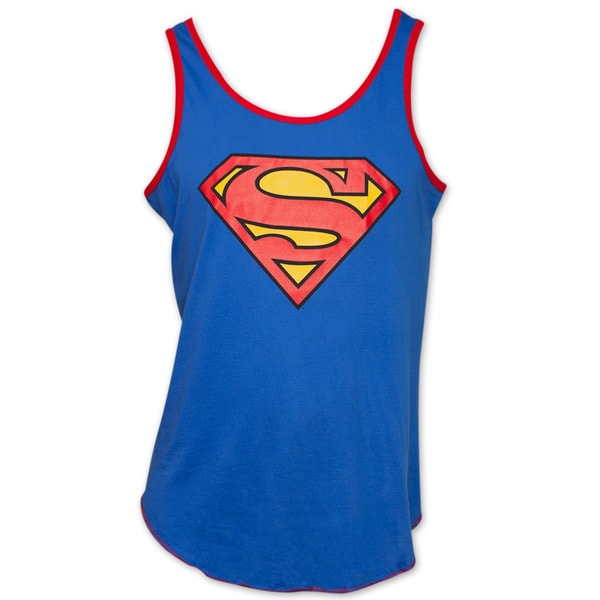 Men's Cotton Blue Superman Emblem Tank Top