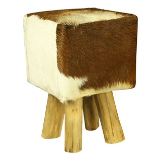 Diego Teak and Pelt Stool