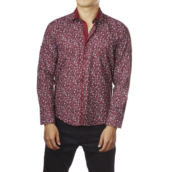 Decaprio Men's Long Sleeve Red Floral Button-Down Shirt