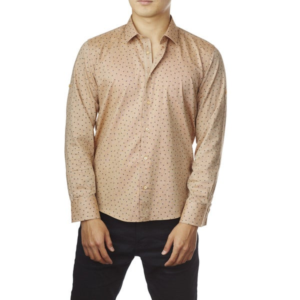 Decaprio Men's Long Sleeve Beige Pattern Button-Down Shirt