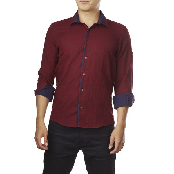 Decaprio Men's Long Sleeve Burgundy Pattern Button-Down Shirt