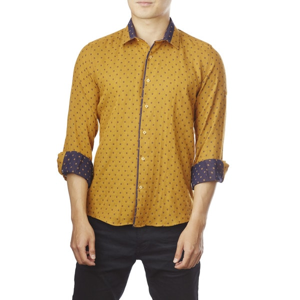 Decaprio Men's Long Sleeve Mustard Pattern Button-Down Shirt