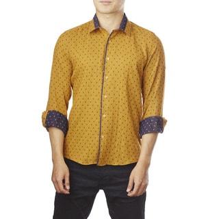 Decaprio Men's Long Sleeve Mustard Pattern Button-Down Shirt