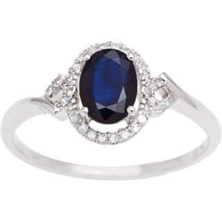 Viducci 10k Gold Sapphire, Ruby or Emerald and 1/6ct TDW Diamond Halo Ring (G-H, I1-I2)