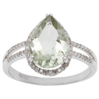 Viducci 10k Gold Green Amethyst and 1/3ct TDW Diamond Halo Ring (G-H, I1-I2)